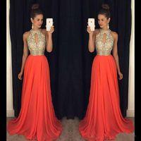 Платья для выпускного вечера 2016 года высокой шеи Вечерние платья Дешевые платья невесты Оранжевый длинные платья вечерние наряды Свадебные платья Вечерние платья Sexy Шаровые
