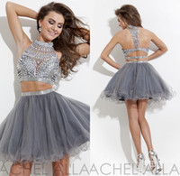 Gray Pink Black Two Pieces Crystal A Line Homecoming dresses...