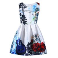 Girls Butterfly Floral Print Dress 2016 New Style Slim Casua...