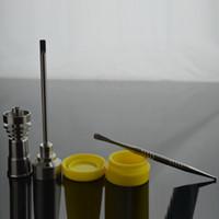 Bong Tool Set T-002 Domeless GR2 Titanium Nail avec Titanium Nail Jar Carb Cap Dabber Outil silicone Dab Conteneurs en verre Conduite d'eau