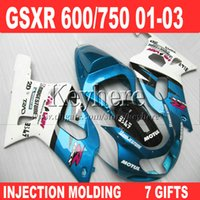 Blue black white body fit for SUZUKI GSXR 600 fairing 2001 2...