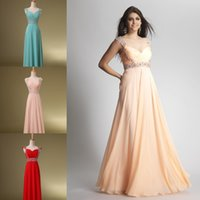 2015 Long Evening Dresses Crystals Beaded Prom Dresses Cheap...