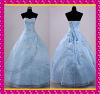 Classic Hot Ball Gown Quinceanera Dresses 2015 Light Sky Blu...