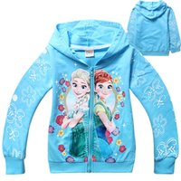 2 colours Frozen fever Hoodies Cartoon elsa and anna Childre...