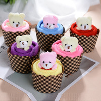 30*30cm Mini Bear Cup Cake Towel Microfiber Cotton Hand Towe...