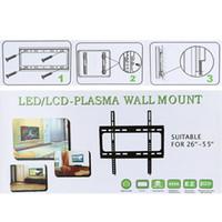 """Nuovo TV a schermo piatto fisso Staffa schermo Supporto HDTV Wall Mount Appartamento con VESA compatibilità per 26 """"~ 55"""" Schermo LCD LED Plasma V1406"""