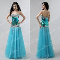 SSJ XU016 In Stock Blue Tulle Trumpet Prom Dresses 2015 New ...