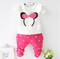 4 Colors Girls Baby Cartoon 2pcs Suits Sets Bow Long Sleeve ...