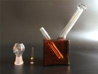 2015 Livraison gratuite CNCamille Mini bongs de verre nouvel Amber couleur carré 10mm joint eau bongs et l'expédition pipesfree
