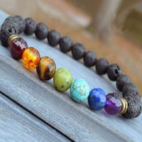 7 цветов Шарм естественно индийский агат драгоценный камень круглой формы шариков вулканического камня чакра исцеления браслеты подарка ювелирных изделий