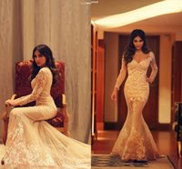 2015 Myriam Fares Prom Dresses with Long Sleeves Sexy Sweeth...