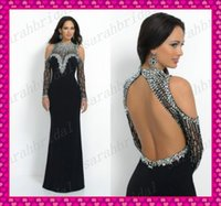 Sophisticated Black Long Sleeve Evening Dresses Cheap 2015 S...