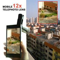 Gros-Apexel 12X Zoom Telescope Clip objectif de la caméra Pour Iphone 6 6 Plus la note 5 4 Samsung Galaxy S6 4 3 LG Mobile Phone Tablet Ipad
