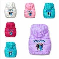 2014 frozen Waistcoat hoodies Children' s Elsa anna olaf...