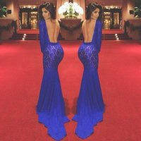 Royal Blue Evening Gowns with Long Sleeve 2015 New Custom Ma...