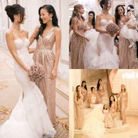 2016 Rose Gold Long Sequin Bridesmaid Dresses Cheap V neck P...