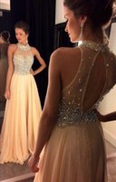 2016 New Champagne Sexy Halter Crystal Prom Dresses Sheer Be...