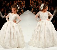 2016 Princess Flower Girls Dresses Long Sleeves Custom Made ...