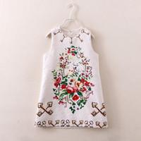 baby girl kids spring autumn vintage dress flower print dres...