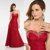 2015 Red Taffeta A- Line Bridesmaid Dresses Shiny Beads Sequi...