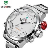 relogios де Luxo Homens Marca WEIDE Аналоговый Цифровой дисплей военные часы Мужчины Полное нержавеющей стали Спорт Часы Relojes