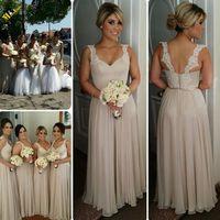 2016 New Lace Straps Chiffon Bridesmaid Dress Long Elegant V...