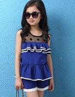 For Big Children Sets Girls Clothes 2015 Summer Girl Dots La...