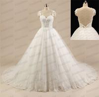 2015 Реальные изображения Принцесса бальное платье Свадебные платья Illusion ремни Милая Backless Тюль Свадебные платья с кружевом подстриженные Часовня Поезд