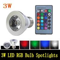 3W E27 GU10 E14 MR16 GU5.3 RGB Bombilla LED 16 Color de la lámpara Cambio Spotlight AC85-265v para el hogar Decoración del partido con 24 Llave a distancia Contr DHL libre