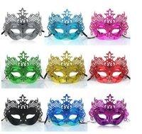 Visage 9 couleurs Mens femme Masques Halloween masques mascarade Mardi Gras vénitienne Dance Party or brillant plaqué Masques