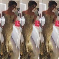 Арабский 2016 г. Золото Bling Bling Sequins Split вечерние платья вечерняя одежда Многоуровневое Русалка Пром Pageant платья Sexy бретельках платье партии