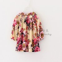 European Girls Dress Autumn Cotton Loose Floral Flower Print...