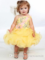One Shoulder Yellow Little Girl Pageant Dresses 2015 Rhinest...