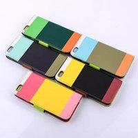 Para el iPhone 6 4.7 5.5 Plus 6 casos de cuero cartera caso híbrido patrón móvil cubren con tarjeta titular del Stand para Samsung Galaxy Note 3 4