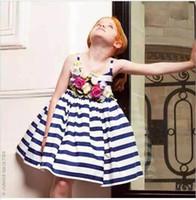 2016 Girls Flower Striped Dress Childrens Fashion Clothing G...