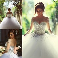 2015 Sheer Long Sleeve Wedding Dresses with Rhinestones Crys...