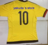 Discount 2015- 16 Colombia Home Yellow 10 James Soccer Jersey...