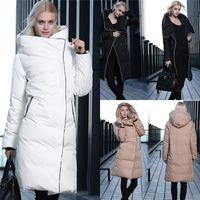 Cheap Women Long Down Coats With Hood Black White Red Champa...