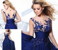 Discount Off 2015 Fashion Prom Dress Navy Blue A- line Floor-...