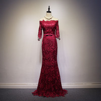 Burgundy Lace Mermaid Evening Dress With Half Sleeves 2016 F...