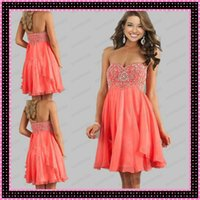 Short Coral Chiffon Beaded Prom Dresses 2015 Strapless Sweet...
