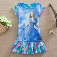 Girls Cinderella T- shirt Dress 2015 new Princess Girls Carto...