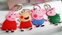 8cm Peppa Pig Toys Keychains PVC Key Chains Pendants Baby To...