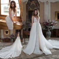 Berta Bridal Lace Wedding Dresses With Detachable Tail Deep ...