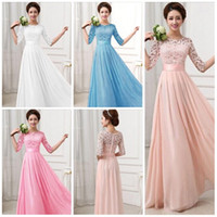 Hot Lace Chiffon Prom Gown Dresses for Women Maxi Dress Half...