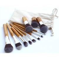 free shipping, 10 PCS Pro Cosmetic Brush set Bamboo Handle Sy...