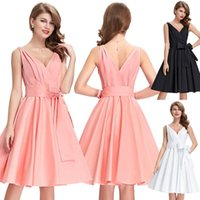 BP Vintage Retro Sleeveless Deep V- Neck Party Dress Knee Len...
