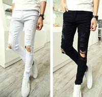 Wholesale Men Punk Ripped Skinny Jeans - Buy Cheap Men Punk Ripped