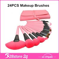 24Pcs Set Make Up Cosmetic Brush Kit Makeup Brushes Pink Bla...