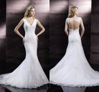 2016 New Design Moonlight V Neck Lace Tulle Mermaid Wedding ...